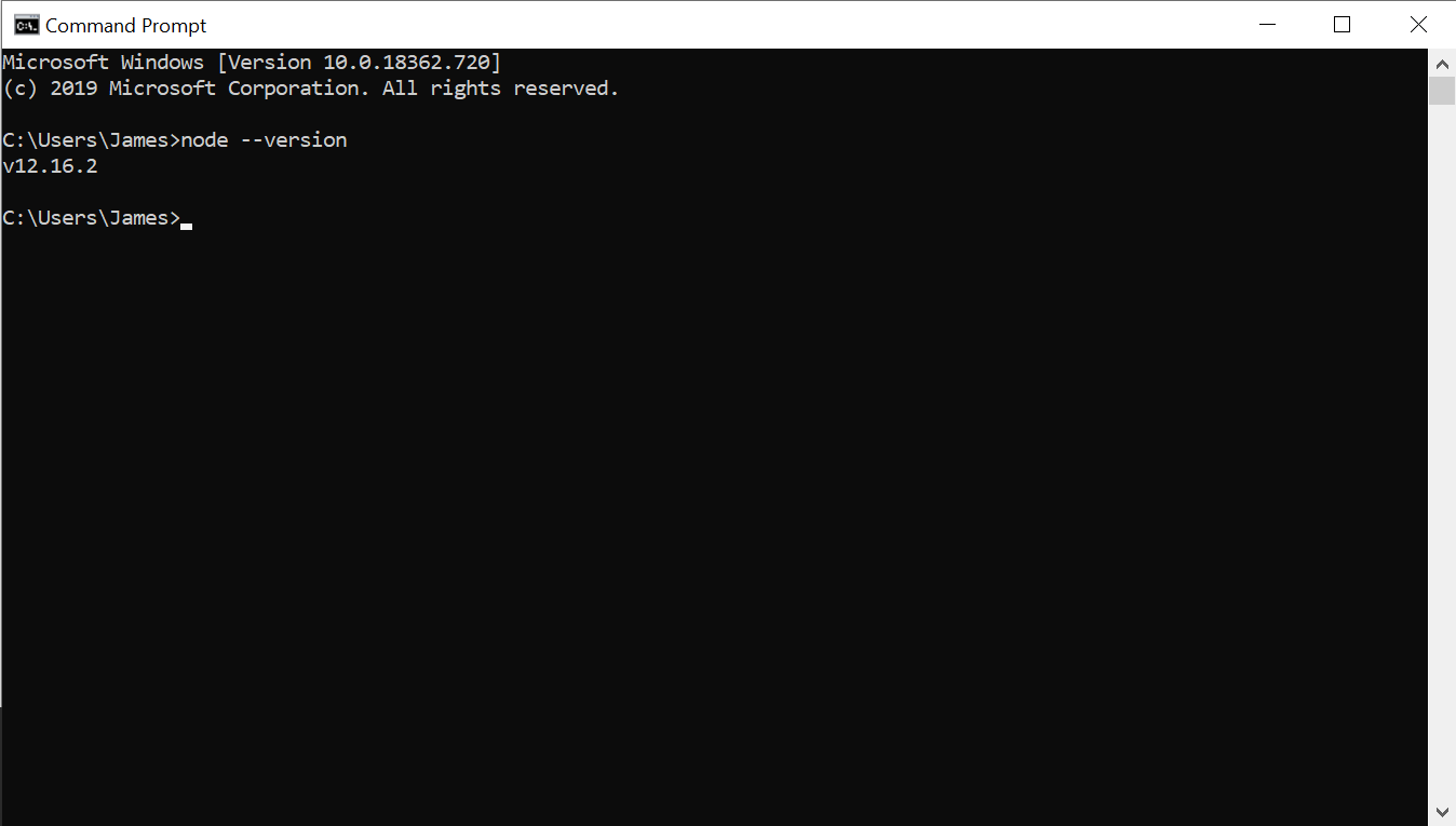 Terminal with the command node --version run, it outputs v12.16.2 without errors