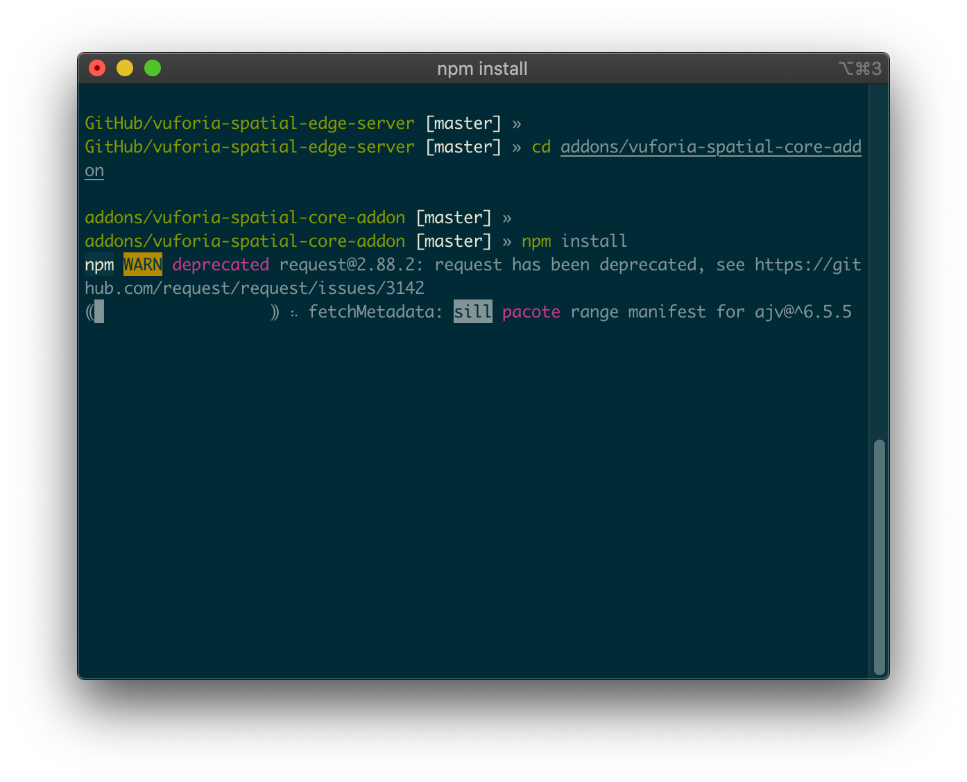 Terminal containing cd into addons directory then npm install