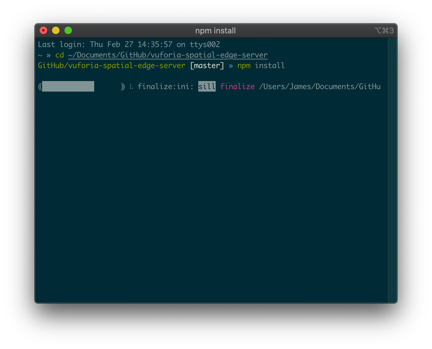 Terminal containing npm install in the edge server directory