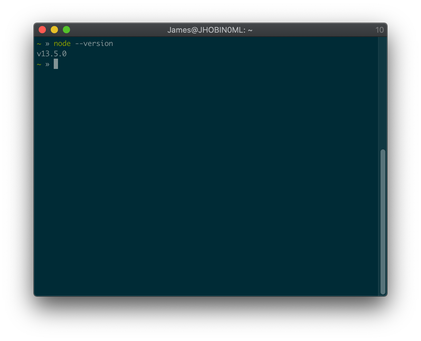 Terminal with the command node --version run, it outputs v13.5.0 without errors