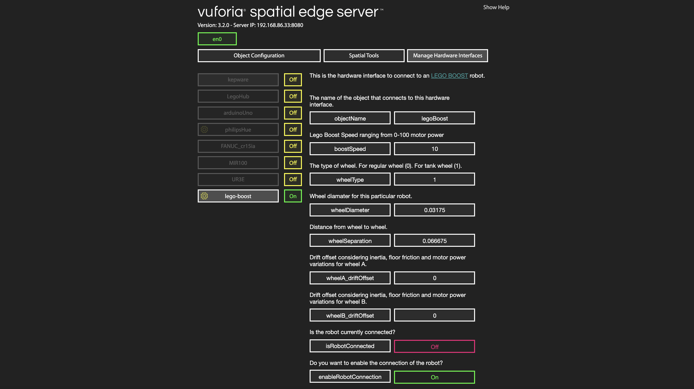 Image of server interface